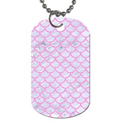 Scales1 White Marble & Pink Colored Pencil (r) Dog Tag (two Sides) by trendistuff
