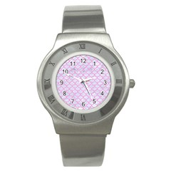 Scales1 White Marble & Pink Colored Pencil (r) Stainless Steel Watch by trendistuff
