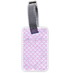 Scales1 White Marble & Pink Colored Pencil (r) Luggage Tags (one Side)  by trendistuff