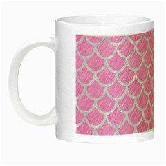 Scales1 White Marble & Pink Colored Pencil Night Luminous Mugs by trendistuff