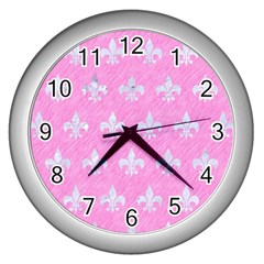 Royal1 White Marble & Pink Colored Pencil (r) Wall Clocks (silver)  by trendistuff