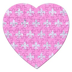 Royal1 White Marble & Pink Colored Pencil (r) Jigsaw Puzzle (heart)