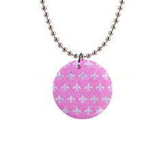 Royal1 White Marble & Pink Colored Pencil (r) Button Necklaces by trendistuff