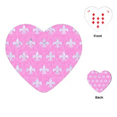 Royal1 White Marble & Pink Colored Pencil (r) Playing Cards (heart)  by trendistuff