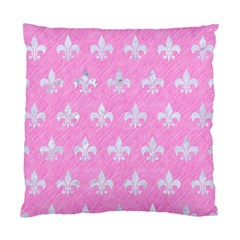 Royal1 White Marble & Pink Colored Pencil (r) Standard Cushion Case (two Sides) by trendistuff