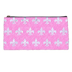 Royal1 White Marble & Pink Colored Pencil (r) Pencil Cases by trendistuff