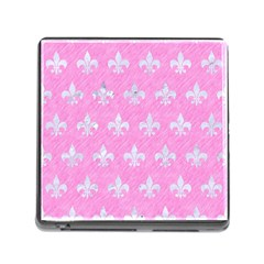 Royal1 White Marble & Pink Colored Pencil (r) Memory Card Reader (square) by trendistuff