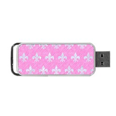 Royal1 White Marble & Pink Colored Pencil (r) Portable Usb Flash (one Side) by trendistuff