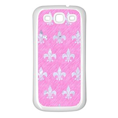 Royal1 White Marble & Pink Colored Pencil (r) Samsung Galaxy S3 Back Case (white) by trendistuff