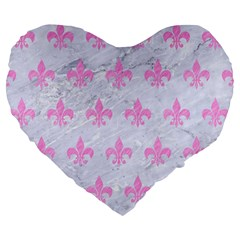 Royal1 White Marble & Pink Colored Pencil Large 19  Premium Heart Shape Cushions by trendistuff