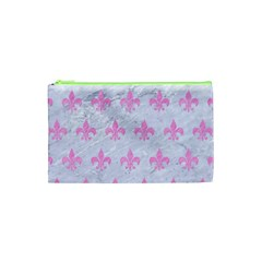 Royal1 White Marble & Pink Colored Pencil Cosmetic Bag (xs)