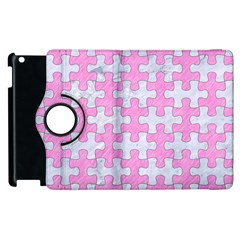 Puzzle1 White Marble & Pink Colored Pencil Apple Ipad 3/4 Flip 360 Case by trendistuff