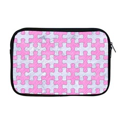 Puzzle1 White Marble & Pink Colored Pencil Apple Macbook Pro 17  Zipper Case