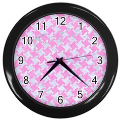 Houndstooth2 White Marble & Pink Colored Pencil Wall Clocks (black) by trendistuff