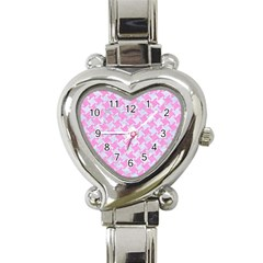 Houndstooth2 White Marble & Pink Colored Pencil Heart Italian Charm Watch by trendistuff