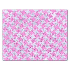 Houndstooth2 White Marble & Pink Colored Pencil Rectangular Jigsaw Puzzl by trendistuff