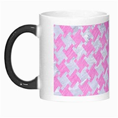 Houndstooth2 White Marble & Pink Colored Pencil Morph Mugs by trendistuff