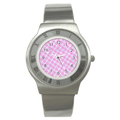 Houndstooth2 White Marble & Pink Colored Pencil Stainless Steel Watch by trendistuff