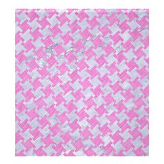 Houndstooth2 White Marble & Pink Colored Pencil Shower Curtain 66  X 72  (large)  by trendistuff