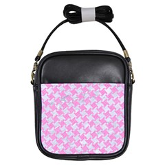 Houndstooth2 White Marble & Pink Colored Pencil Girls Sling Bags by trendistuff