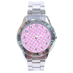 Houndstooth2 White Marble & Pink Colored Pencil Stainless Steel Analogue Watch