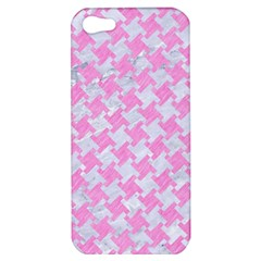 Houndstooth2 White Marble & Pink Colored Pencil Apple Iphone 5 Hardshell Case by trendistuff