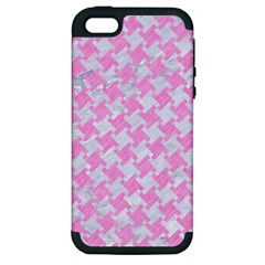 Houndstooth2 White Marble & Pink Colored Pencil Apple Iphone 5 Hardshell Case (pc+silicone) by trendistuff
