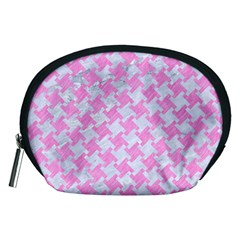Houndstooth2 White Marble & Pink Colored Pencil Accessory Pouches (medium)  by trendistuff