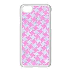 Houndstooth2 White Marble & Pink Colored Pencil Apple Iphone 7 Seamless Case (white) by trendistuff