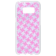 Houndstooth2 White Marble & Pink Colored Pencil Samsung Galaxy S8 White Seamless Case by trendistuff