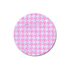 Houndstooth1 White Marble & Pink Colored Pencil Magnet 3  (round) by trendistuff