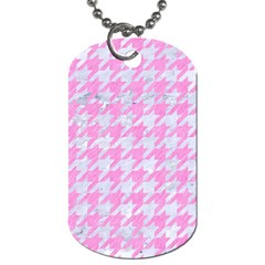 Houndstooth1 White Marble & Pink Colored Pencil Dog Tag (two Sides) by trendistuff