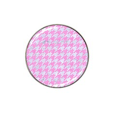 Houndstooth1 White Marble & Pink Colored Pencil Hat Clip Ball Marker by trendistuff