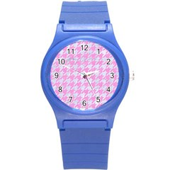 Houndstooth1 White Marble & Pink Colored Pencil Round Plastic Sport Watch (s) by trendistuff
