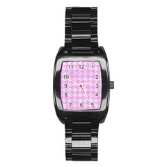 Houndstooth1 White Marble & Pink Colored Pencil Stainless Steel Barrel Watch by trendistuff