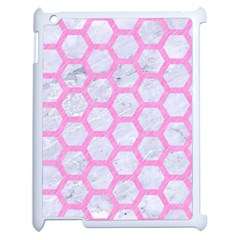 Hexagon2 White Marble & Pink Colored Pencil (r) Apple Ipad 2 Case (white) by trendistuff