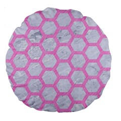 Hexagon2 White Marble & Pink Colored Pencil (r) Large 18  Premium Round Cushions by trendistuff