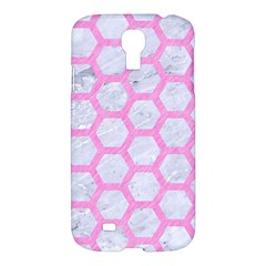 Hexagon2 White Marble & Pink Colored Pencil (r) Samsung Galaxy S4 I9500/i9505 Hardshell Case by trendistuff
