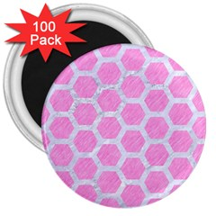 Hexagon2 White Marble & Pink Colored Pencil 3  Magnets (100 Pack) by trendistuff