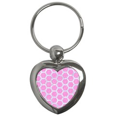 Hexagon2 White Marble & Pink Colored Pencil Key Chains (heart)  by trendistuff