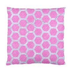 Hexagon2 White Marble & Pink Colored Pencil Standard Cushion Case (two Sides) by trendistuff