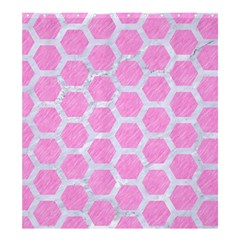 Hexagon2 White Marble & Pink Colored Pencil Shower Curtain 66  X 72  (large)  by trendistuff