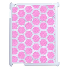 Hexagon2 White Marble & Pink Colored Pencil Apple Ipad 2 Case (white) by trendistuff