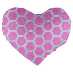 Hexagon2 White Marble & Pink Colored Pencil Large 19  Premium Heart Shape Cushions by trendistuff
