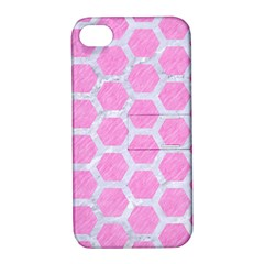 Hexagon2 White Marble & Pink Colored Pencil Apple Iphone 4/4s Hardshell Case With Stand by trendistuff