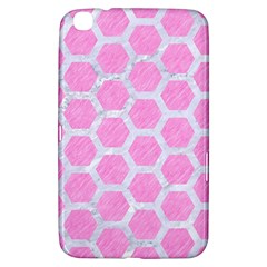 Hexagon2 White Marble & Pink Colored Pencil Samsung Galaxy Tab 3 (8 ) T3100 Hardshell Case  by trendistuff