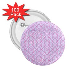 Hexagon1 White Marble & Pink Colored Pencil (r) 2 25  Buttons (100 Pack)  by trendistuff