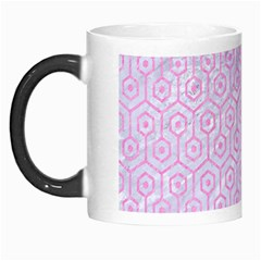 Hexagon1 White Marble & Pink Colored Pencil (r) Morph Mugs by trendistuff