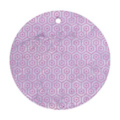Hexagon1 White Marble & Pink Colored Pencil (r) Round Ornament (two Sides) by trendistuff