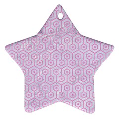 Hexagon1 White Marble & Pink Colored Pencil (r) Star Ornament (two Sides) by trendistuff